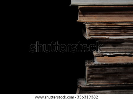 Old books in a stack, isolated - stock photo