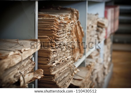 old books in the library - stock photo