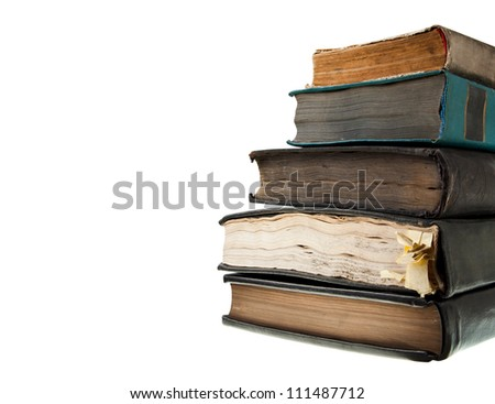 Old books, isolated on white