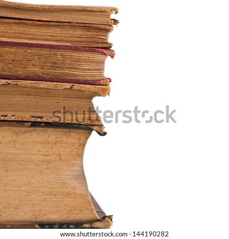 Old books isolated on white background. - stock photo
