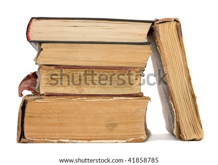 Old books on white background. Isolated. - stock photo