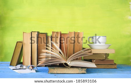 old books, selective focus, free copy space - stock photo