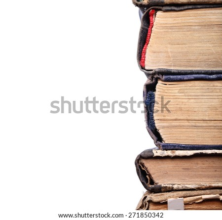 Old books spine in a stack - stock photo