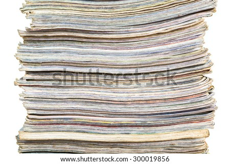 old books stack isolated on white background - stock photo