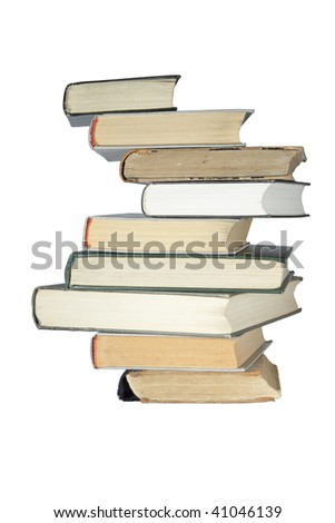 old books stack isolated over white - stock photo