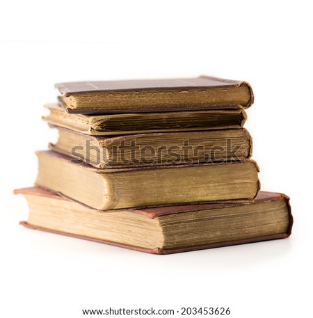 Old books stacked, Isolated on white.