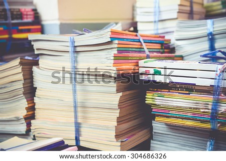 Old books Used books donated to Poor rural children and drive their growth - stock photo