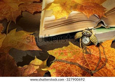 Old books with vintage clock in form of owl  among  yellow maple leaves and bright natural  sunlight -autumn still life.  Selective focus at the clock and book - shallow depth of field - stock photo
