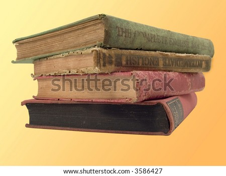 old books yellow background - stock photo