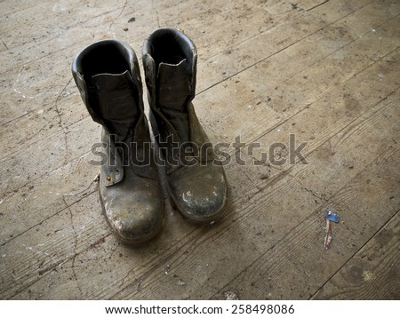 Old boots. - stock photo