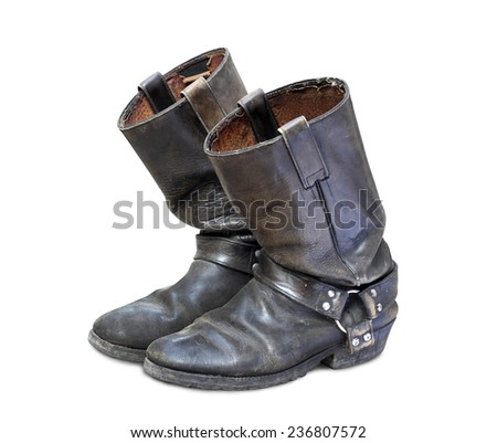 old boots isolated on white background - stock photo