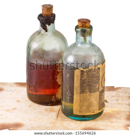 Old bottle on white background.