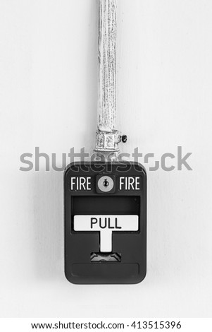 Old box fire alarm  isolated on white background - stock photo