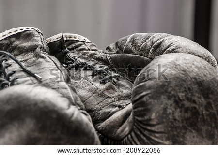 old boxing gloves - stock photo