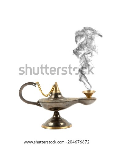 old brass oil lamp - Aladdin's lamp  - stock photo