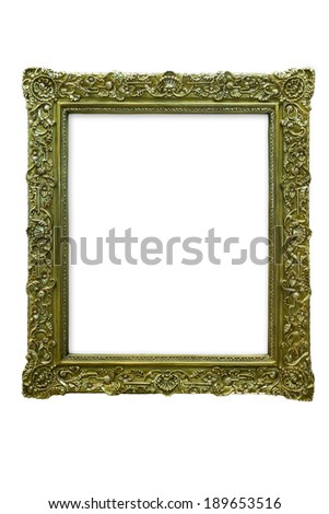 old brass photo frame isolated on white background - stock photo