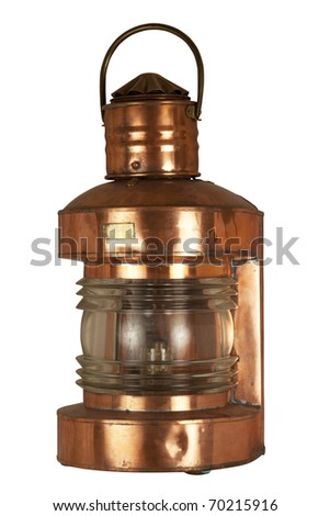 Old brassy ship lantern - stock photo