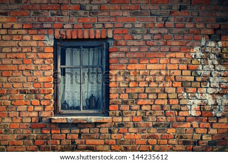 Old break wall with window - stock photo