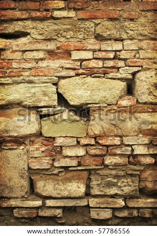 old brick and stone wall texture - stock photo
