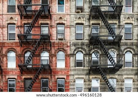 old brick apartment buildings east village stock photo 496160128 shutterstock. Black Bedroom Furniture Sets. Home Design Ideas