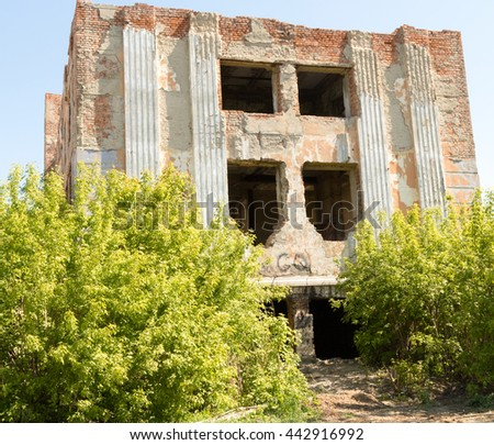 old brick building destroyed - stock photo