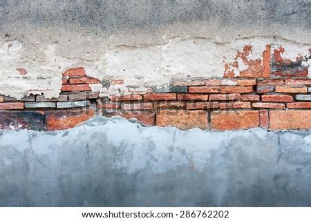 Old Brick Cracked Wall  - stock photo
