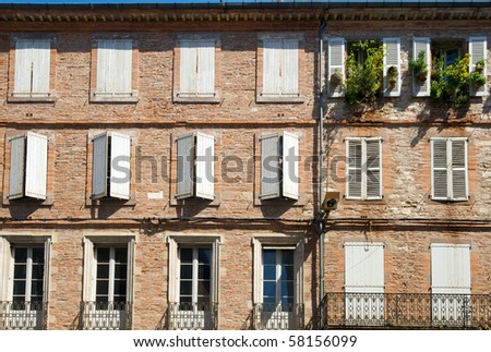 Old brick houses in Albi, France