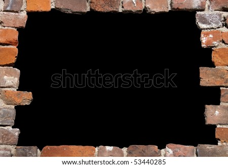 Old brick wall as a grungy frame, isolated on black background in the centre 02 - stock photo