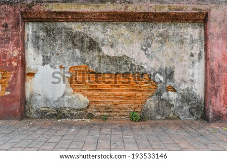 Old brick wall, damage old wall texture background. - stock photo