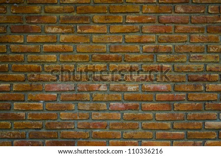 old brick wall in Ancient temple,  Image for background. - stock photo