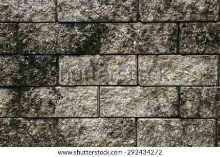 old brick wall in park - stock photo