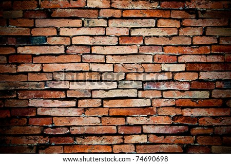 old brick wall orange colored for background - stock photo