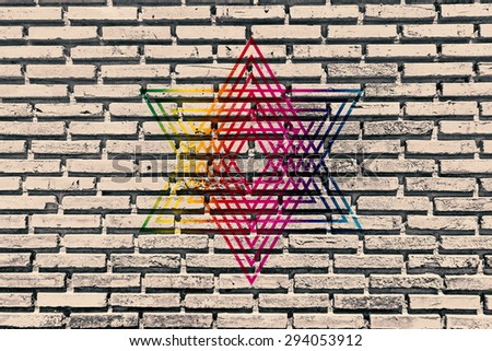 Old brick wall paint color copy rainbow star for texture background and backdrop. - stock photo