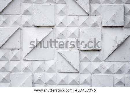 Old brick wall painted with white paint. background texture. - stock photo