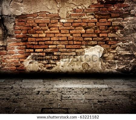 old brick wall room - stock photo