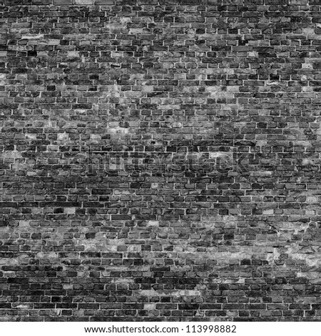 old brick wall texture background in black and white colors texture may use as halloween background - stock photo