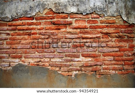 old brick wall with cracked