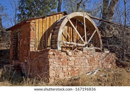 Old brick water mill at the Crescent Moon Ranch recreation area near  Sedona Arizona and also near Red Rock Crossing at Oak Creek. - stock photo