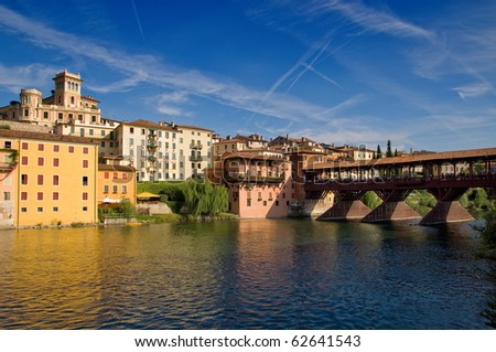 Old bridge and Brenta river in Bassano del Grappa, Veneto, Italy - stock photo