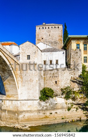 Old Bridge and Old City of Mostar, the cultural capital of Bosnia and Herzegovina.