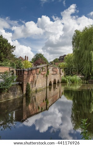 Old bridge and river at the end of Verulanium Park in St Albans, UK - stock photo