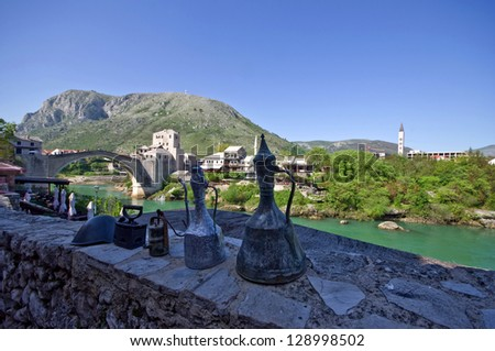 Old Bridge - built 16Th century in Mostar, Bosnia and Herzegovina. Crosses the river Neretva and connects all Moslems and Christian parts of the city, destroyed in 1993 during the Croat-Bosniak war. - stock photo
