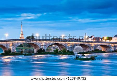 Old Bridge in Blois, Loire-et-Cher, Centre, France - stock photo