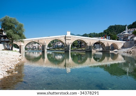 Old Bridge in Konjic, Bosnia and Herzegovina - stock photo