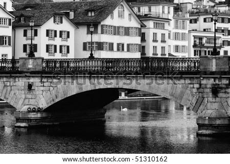 Old bridge in the center of Zurich (Switzerland) - stock photo