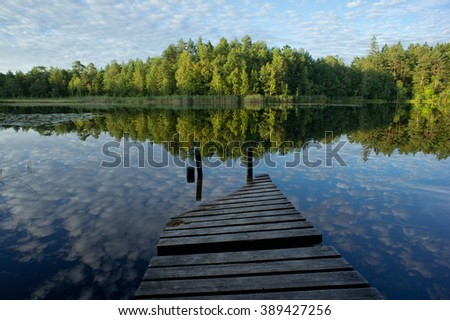 Old bridge on the bog lake. On the background is forest reflection in the swamp - stock photo