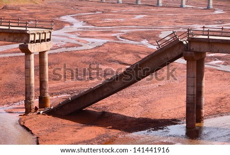old broken concrete bridge - stock photo