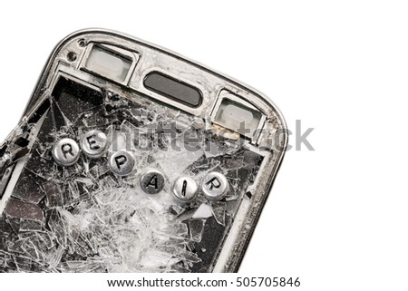 Old broken phone with the inscription  REPAIR made of silver beads on white background. Isolated