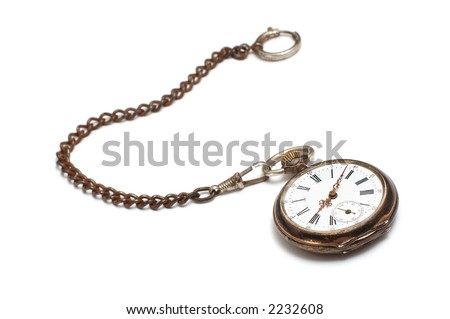old broken pocket watch on white