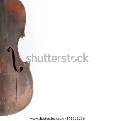 Old broken violin isolated on the white background - stock photo